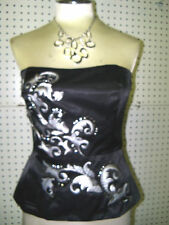 WHITE HOUSE BLACK MARKET sz 12 -EMBROIDERED SATIN BUSTIER -NWT--GORGEOUS