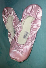 LT PINK SATIN BALLET STYLE SLIPPERS FLAT SHOES SIZE 9 - 10 LARGE - XLARGE