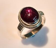 925 STERLING SOLID SILVER CLASSIC RING SIZE 4 to 12 NATURAL STAR RUBY GEMSTONE D