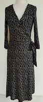 COOPER ST Black/Cream Stretch Knit Wrap Dress Size 12