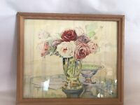 ANTIQUE WATERCOLOR STILL LIFE TABLE GLASS VASE FLOWERS 1944 SIGNED K. TURNER