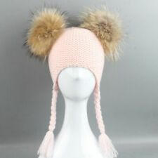Warm Hat Cute Baby Kids Girls Knitted Furry Balls Crochet Braid Fall Winter Cap