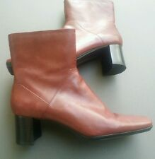 """Nine West Boots Reddish Brown Wine Ankle Side Zip 9 West Shoes """"Tepee"""" Size 7"""