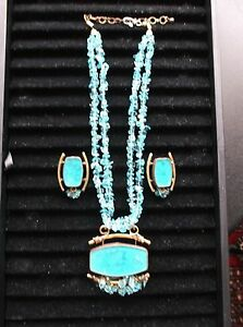 Handcrafted Copper Brass Necklace & Clip-On Earrings Set, Blue Glass/Acrylic