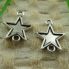 free ship 110 pieces tibetan silver star connector 19x16mm #3923