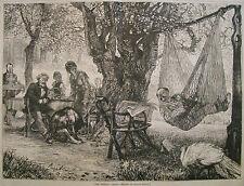 THE SIESTA BY ADOLPH VON MENZEL GERMANY LARGE FOLIO, HARPER'S WEEKLY 1876