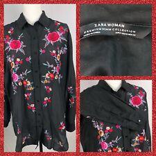 Gorgeous ZARA BLACK tunic EMBROIDERE floral size Medium