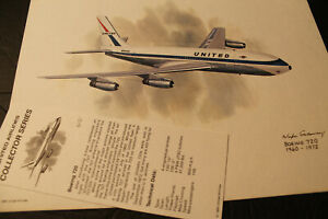 Collector Print & Letter:  UNITED AIR LINES  Boeing 720  1960-1972.    1980.