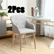 2PCS DINING CHAIRS FABRIC LEATHER PADDED SEAT ARMCHAIR METAL LEGS DINNING ROOM