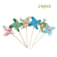 24pcs Mini Windmill Cupcake Topper Picks Cake Decorations For Birthday Party