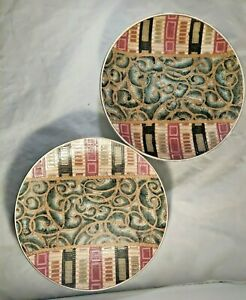 2 Decorative Plates With Geometric Patterns/Vines Earth Tones Green & Pink