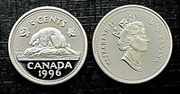 Canada 1996 Proof Gem Silver Five Cent Nickel!!