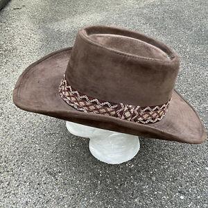 "YA Dark Brown Brushed ""Suede Feel"" size L 7 1/4 - 7 3/8 Korea Cowboy Hat"
