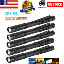 5Pcs XPE-R3 LED Flashlight Portable Pen Torch Lamp Clip Mini Light Penlight US