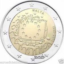 """Pièce commémorative 2 euros MALTE 2015 """"30ème anniv. du drapeau Européen""""- UNC"""