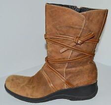 CLARKS ARTISAN Brown Suede Waterproof Mid-Calf Side Zip Boots Sz 11 M GC ~LOOK~