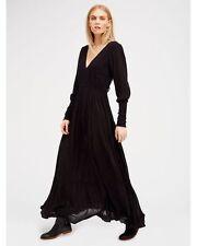 139203 New $128 Free People Wednesday Black Long Sleeve V Neck Maxi Dress S US