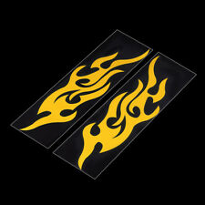 Great 2pcs Yellow Car Motorcycle Mural Vinyl Covers Flame Fire Sticker Decal