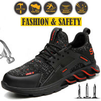 AtreGo Men's Mesh Safety Steel Toe Cap Trainer Boots Anti-puncture Work Shoes
