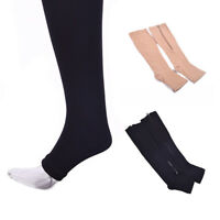 Compression Socks Leg Support Unisex Open Toe Knee Stockings with Zipper
