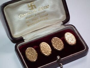 Beautiful Condition Solid 9ct Gold 1907 Antique Cufflinks, Superb Boxed Example!