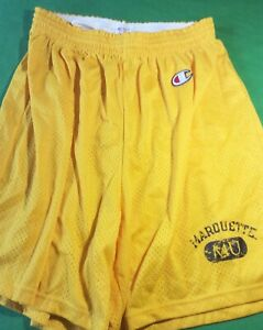 NWT CHAMPION NCAA MARQUETTE GOLDEN EAGLES MESH SHORTS - YELLOW - L (36-38)