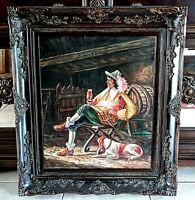 Antique Vtg Oil Painting Dutch Man Drinking Wine w/ Dog Barn Scene Signed Art