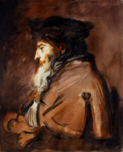 Beautiful Rembrandt follower painting 1800s