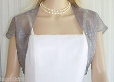 SILVER  GRAY  Organza Sequins BOLERO Bridal Wedding FORMAL JACKET Small NEW