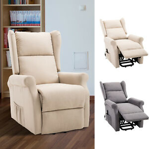 Electric Power Rise Linen Fabric Recliner Armchair Functional w/ Remote Control