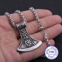 Wikinger Axt Anhänger +Kette 50cm+Vikings Box Odin Mjolnir Rune Thor Amulett V14