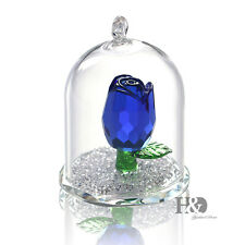 Crystal Blue Rose Figurine Hanging Deco Pendant Xmas Wedding Gift Ornaments