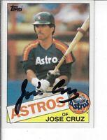 JOSE CRUZ 1985 TOPPS AUTOGRAPHED BASEBALL CARD 95 HOUSTON ASTROS