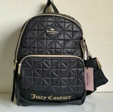 NEW! JUICY COUTURE STARBURST BLACK QUILTED TRAVEL BACKPACK BAG PURSE $99 SALE