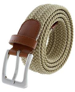 "7001G Men's Stretch Belt Braided Elastic Casual Woven Canvas Fabric Belt 1-3/8"""