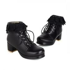 Women's Girls Lolita Comfy 5CM Heel Round Toe Zip Up Casual Punk Ankle Boots D