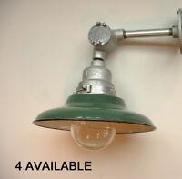 "(1) Crouse Hinds 12"" Green Porcelain Sconce Light Industrial VDB1 Globe Vtg Lamp"