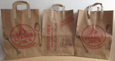 Lot of 3 New Trader Joe's Brown Paper Shopping Bags 100% Recyclable & Reusable