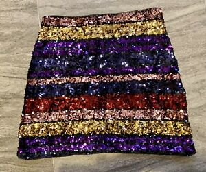 Oasis Stunning Ladies Rainbow Sequin Embellished Skirt XS Christmas Party 🌈🎄