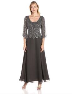 J. Kara New W/tags 16.0 Scoop Neck 3/4 Sleeves Silver Beaded Dress Gown 16 Plus