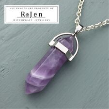 Silver Plated Amethyst Point Pendant & Chain Wicca Reiki Chakra LOVING VIBES