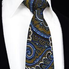 Brand New Mens Tie - Blue Brown Tan Silk Square Necktie Gift 635