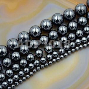 Natural Black MAGNETIC Hematite Gemstones Round Beads16'' 4mm 6mm 8mm 10mm 12mm