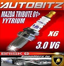 FITS MAZDA TRIBUTE 3.0 2001>  BRISK SPARK PLUG X6 YYTRIUM FAST DISPATCH