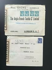 FRANCE 1945 CENSORED COVERS (2) TO LONDON TEXTILES