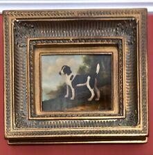 Oil Painting On Canvas, DOG BEAGLE ANIMAL BLACK/WHITE, Gold Frame, 20 X 18