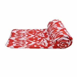 Indian 100%Cotton Ikat Bedspread Coverlet Bed Cover Blanket Throw Kantha Quilts
