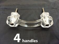 "4 CLEAR GLASS 4.25"" HANDLES 3"" HOLES Kitchen Cabinet Door Drawer Pulls Vintage"