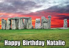 Stonehenge stone henge HISTORY personalised Greeting Birthday ART Card ancient