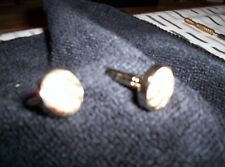 Silver metal cuff links with fabric design